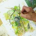 Taiteilijan asetettu kynä ja mustetta