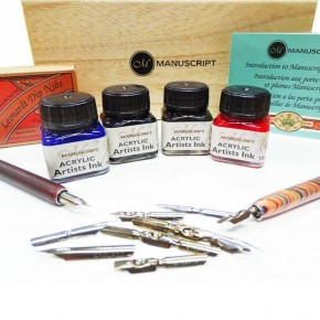 Wood And Brass Calligraphy Dip Pen And Ink Calligraphy Arts