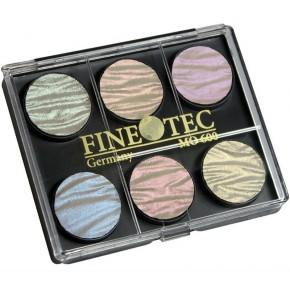 Seks Finetec glitre perle farver 23mm