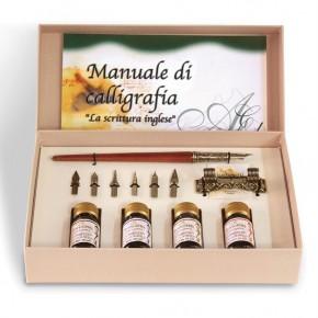 Trä skriv set med manualer kalligrafi