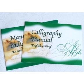 Conjunt de l'escriptura de fusta amb els manuals de cal·ligrafia