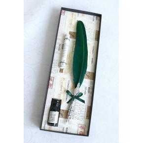 Pluma de pluma de estaño de pluma verde y tinta