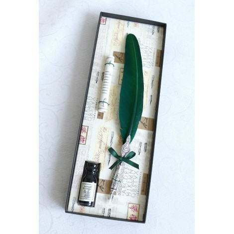 Green Feather Pewter Quill Dip Pen & Ink