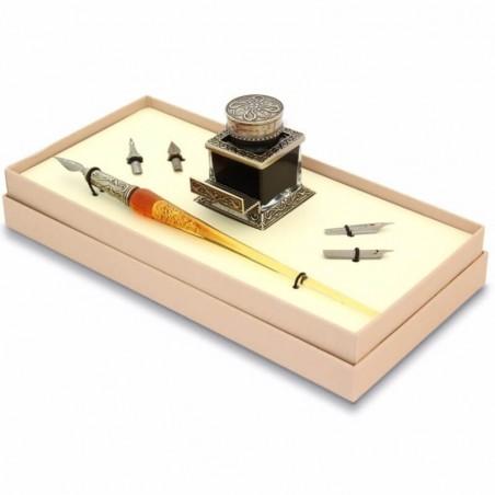 Feuille d'or stylo de calligraphie ensemble