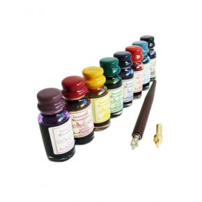 Houten kalligrafiepen met 8 inkten