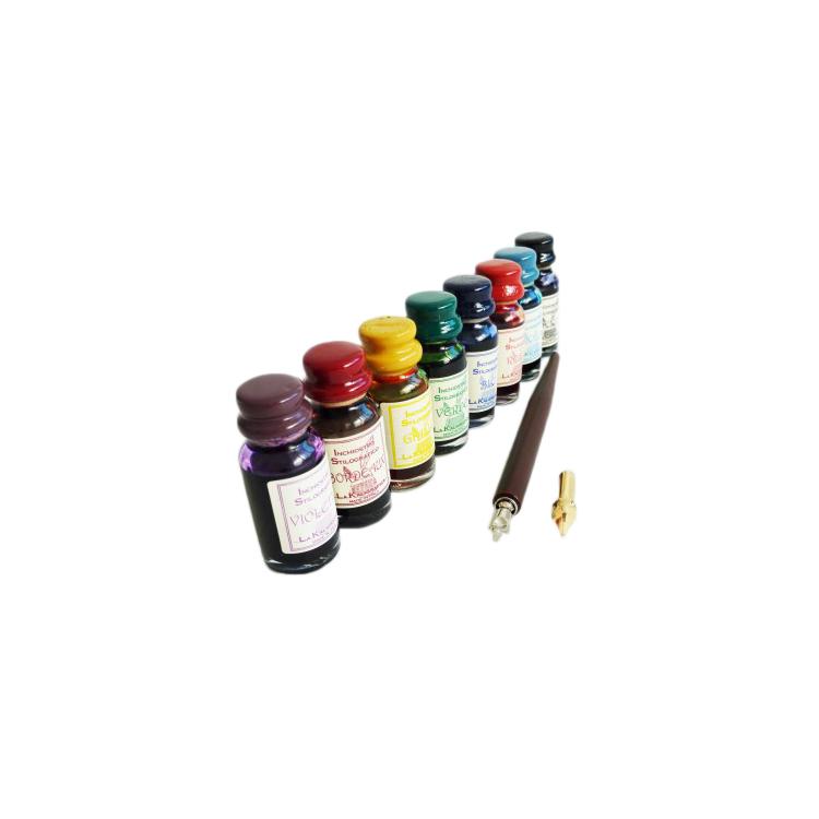 Pluma de la caligrafía de madera con 8 tintas