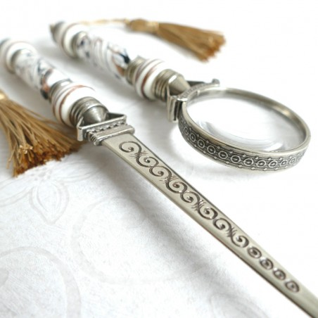 Magnifying glass & letter opener with tassels