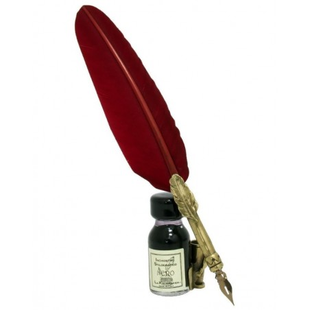Burgundy Feather Design Quill, Stand & Ink Set