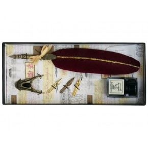 Burgundy Feather & Brass Pen, Brass Holder, 3 Nib and Ink Set