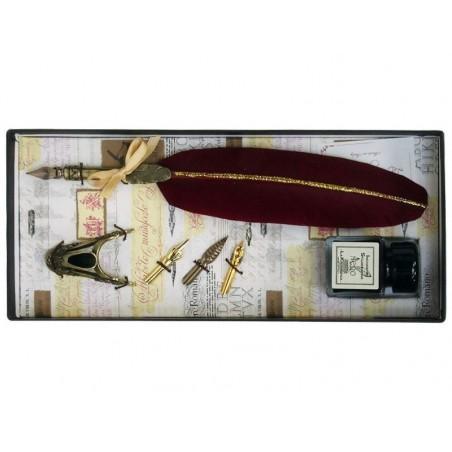 Piuma bordeaux e penna in ottone