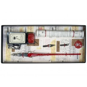 Red and Silver Glass Pen Set