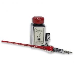 Bolígrafo de caligrafía - vidrio rojo y plateado