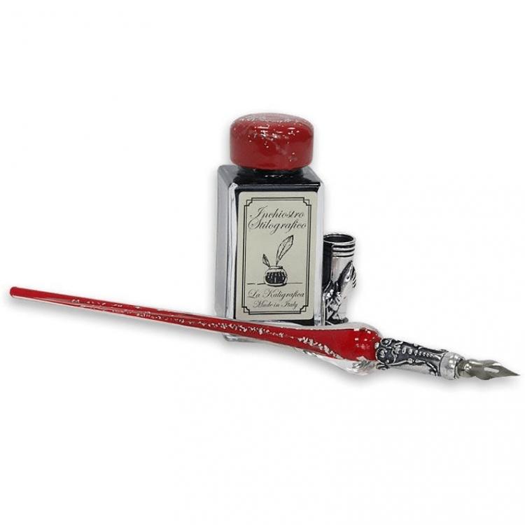 Penna calligrafica - vetro rosso e argento