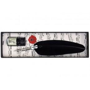 Kalligrafiepen, zwarte veer, zilveren viool