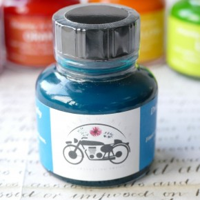 Blågrön blå akryltryckfärg