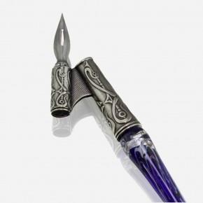 Schuine kalligrafiepen - glas zilver blad