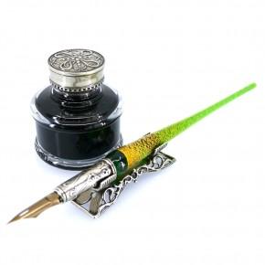 Glas-Tauchstift, Tintenfass & Stiftauflage
