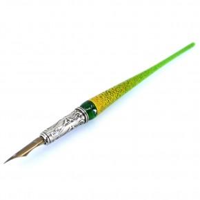 Penna, calamaio e supporto per penna in vetro