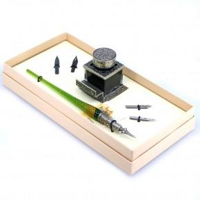 Glazen kalligrafie pennenset - bladgoud