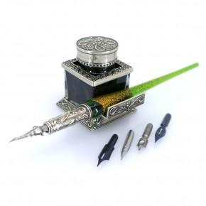 Set di penne per calligrafia in vetro - Foglia d'oro