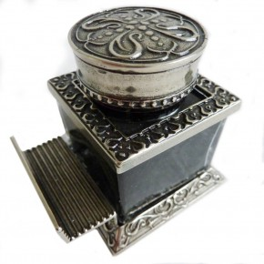 Ornate Square Inkwell With Pen Rest