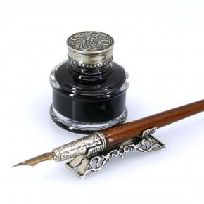 Trä kalligrafi skriva set