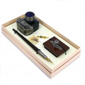 Kalligraphie-Schreibtischset aus Holz - Ecke