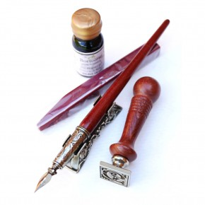 Sello de cera gótico, bolígrafo y soporte
