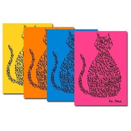 Notelets gato en brillantes colores