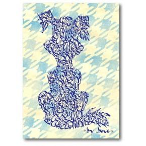 Tecknad hund - blå