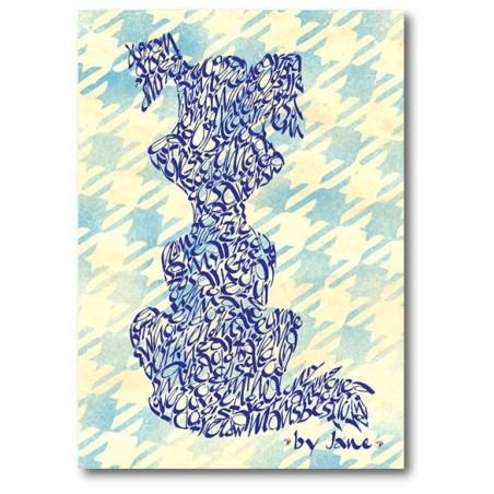 Perro de la historieta en azul diente de perro