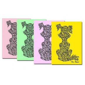 Notelets gossos en colors en colors pastís