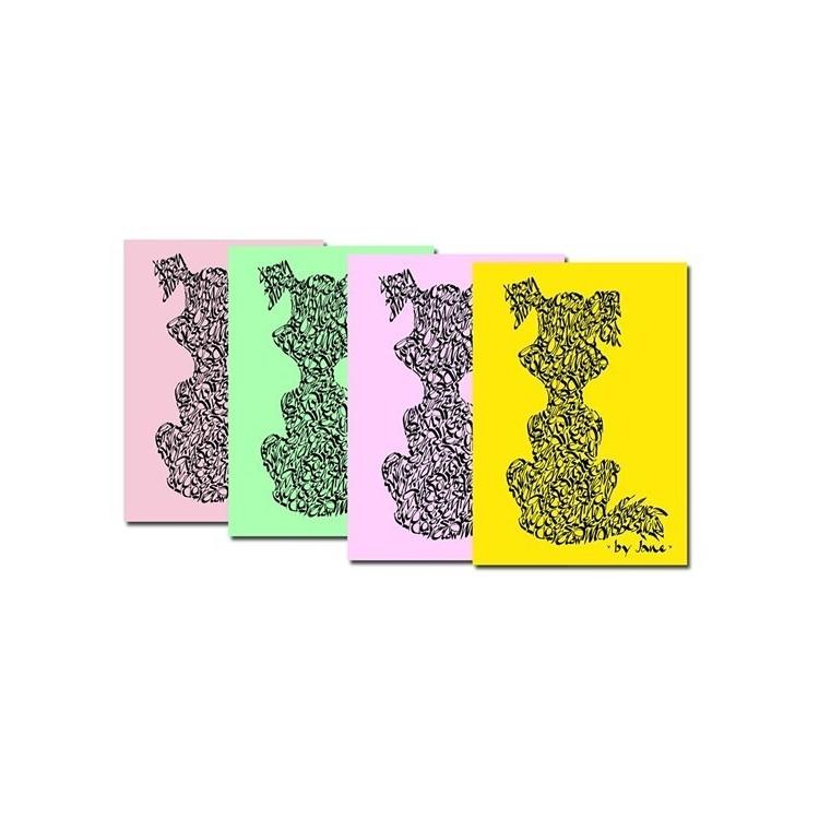 Notelets perros en colores en colores pastel