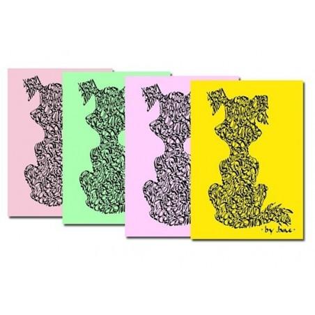 Notules chien - couleurs en pastel