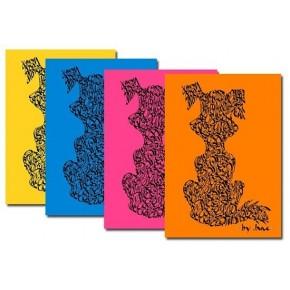 Paquet de carte de chien - couleurs vives