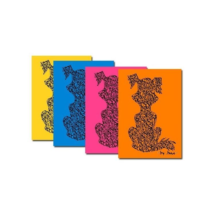 Notelets perros en brillantes colores