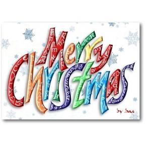 Tarjeta Palabra Feliz Navidad