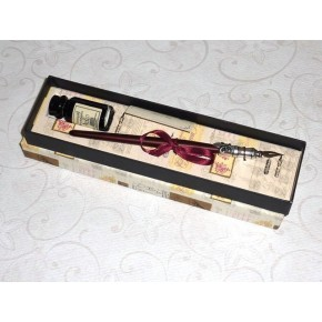 Penna per calligrafia in legno e peltro