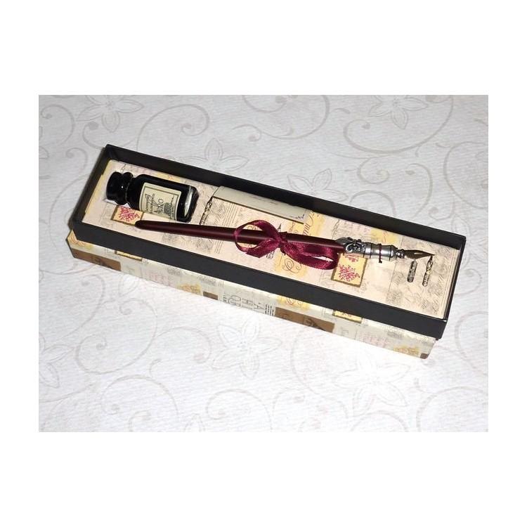 Holz und Zinn Dip Pen mit Tinte