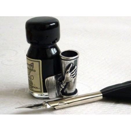 Small Black Feather Quill Dip Pen & Ink