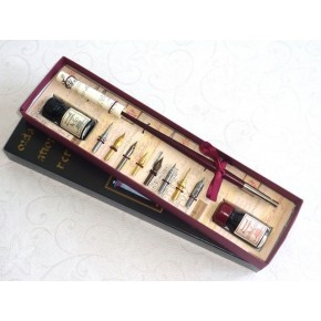 Wooden calligraphy pen set