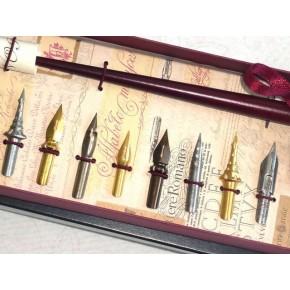 Houten Dip Pen 8 Nibs en 2 Inks