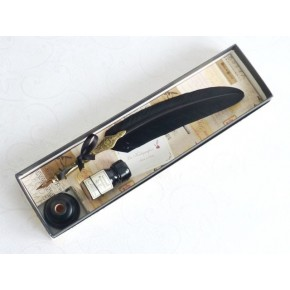 Gold-Zinn-Black Feather Quill Dip Pen