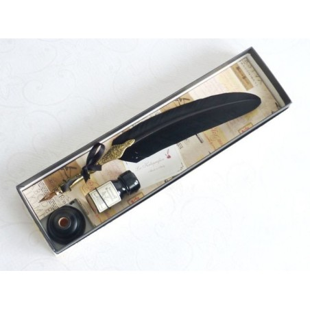Guld Pewter Black Feather Quill Dip Pen