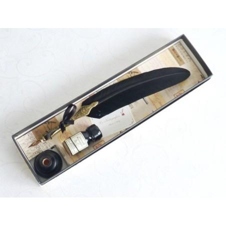 Guld Tenn svart fjäder Quill Dip Pen