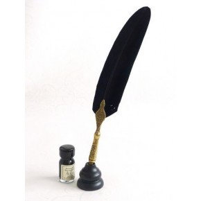 Gold Pewter Black Feather Quill Dip Pen