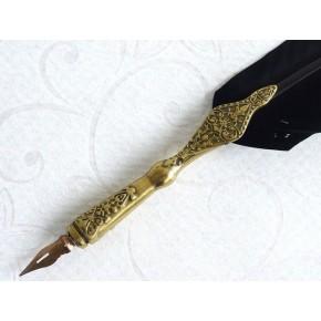 Fjerkalligrafipenn - guldtængehåndtag