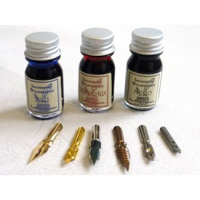 Blue Feather Quill, 3 Inks, 6 Nibs