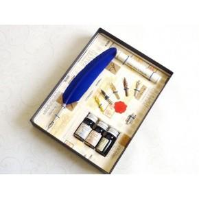 Blue Feather Dip Pen 3 Inchiostri 6 Pennini