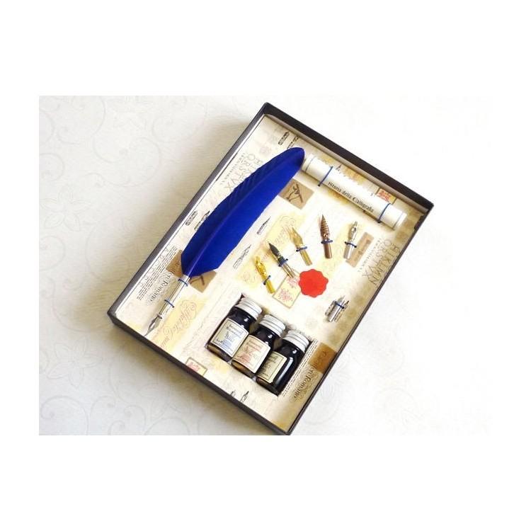 Siniset höyhen Dip Pen 3 Musteet 6 Nibs